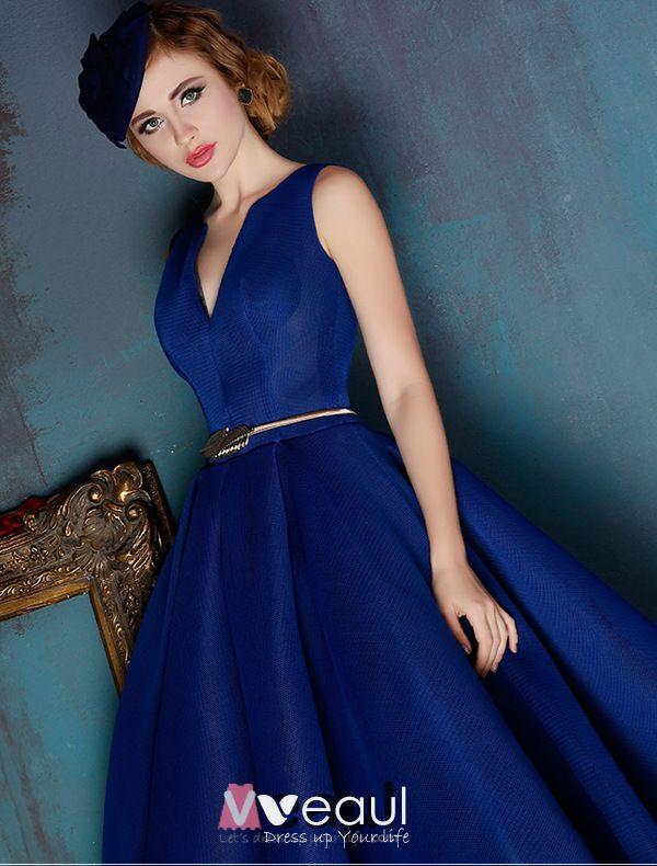 Eleganten Blauen Abiballkleider Tiefem V-ausschnitt Tulle ...