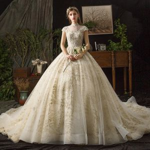 10faeafd27f9 Vintage / Retro Champagne See-through Wedding Dresses 2019 Ball Gown High  Neck Cap Sleeves