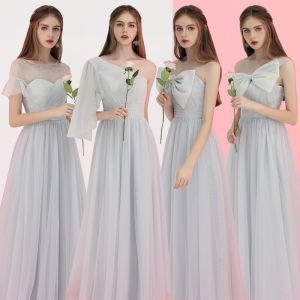Affordable Grey Bridesmaid Dresses 2018 A-Line / Princess Floor-Length / Long Ruffle Wedding Party Dresses Crossed Straps