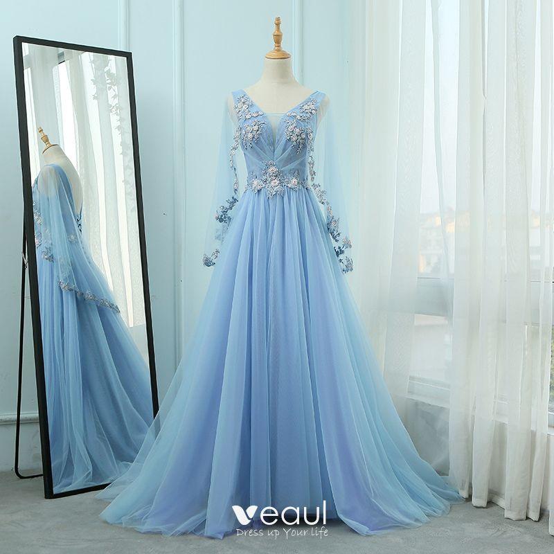 Elegante Blau Abendkleider 2018 A Linie V-Ausschnitt Lange ...