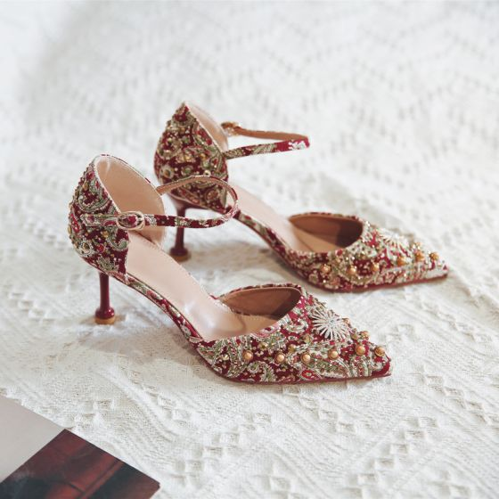 Fancy Chinese style Red Wedding Shoes 2020 Ankle Strap Pearl Rhinestone 8 cm Stiletto Heels Pointed Toe Wedding High Heels
