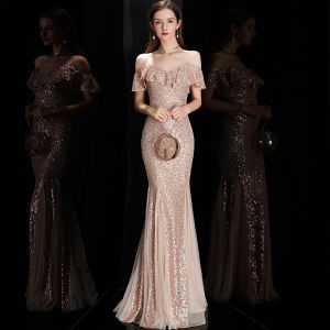 Sparkly Rose Gold Sequins Evening Dresses  2020 Trumpet / Mermaid Spaghetti Straps Short Sleeve Floor-Length / Long Ruffle Backless Formal Dresses