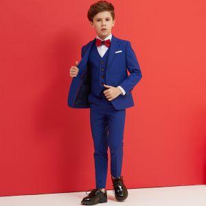 Simple Rouge Cravate Bleu Roi Boys Wedding Suits 2018
