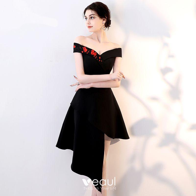 5d8b0f47df Proste   Simple Czarne Strona Sukienka 2018 Princessa Haftowane Przy  Ramieniu Bez Rękawów Krótkie Sukienki Wizytowe