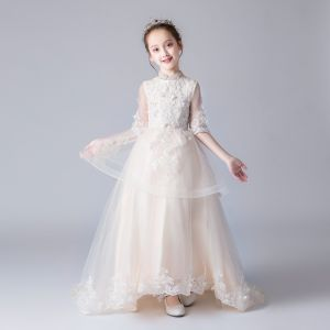 Chinese style Champagne Flower Girl Dresses 2019 A-Line / Princess High Neck 1/2 Sleeves Appliques Lace Beading Sweep Train Ruffle Wedding Party Dresses
