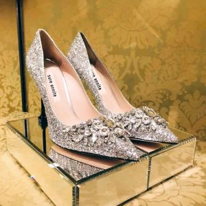 Brillante Plata Zapatos de novia 2018 Glitter Rhinestone Lentejuelas 8 cm Stilettos / Tacones De Aguja Punta Estrecha Boda Tacones