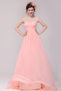 2015 Chiffon Elastic Woven Satin Sweetheart Zipper Pink Long Bridesmaid Dress