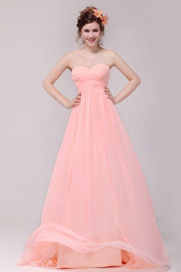 2015 Chiffon Elastic Woven Satin Sweetheart Zipper Pink Long Bridesmaid Dress