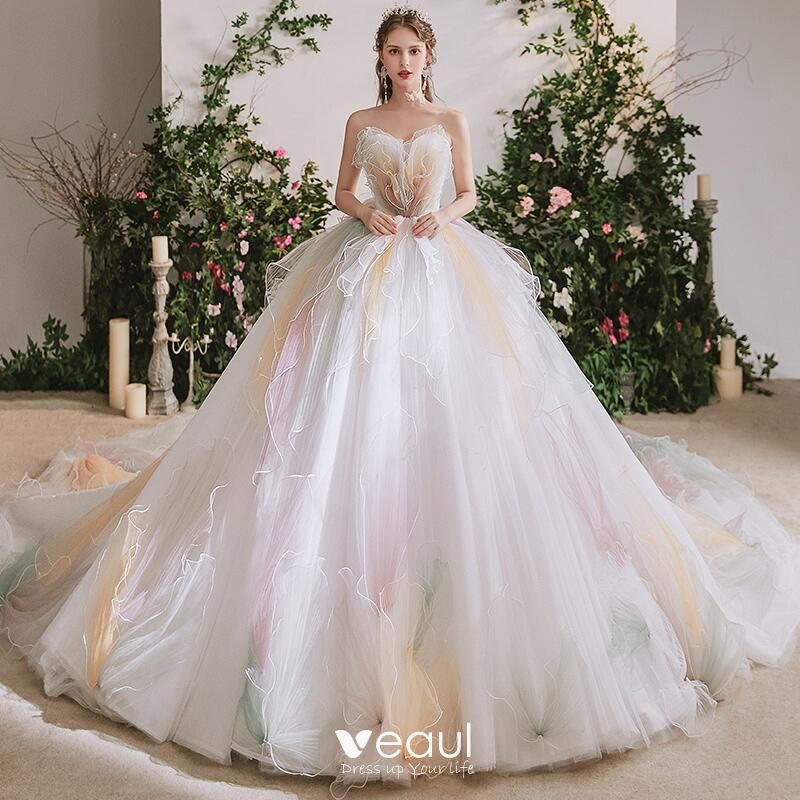 Rainbow Multi-Colors Bridal Wedding Dresses 2020 Ball Gown Sweetheart Sleeveless Backless Cathedral Train Ruffle