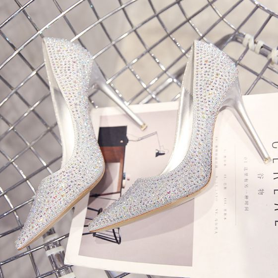 Sparkly Silver Wedding Shoes 2019 Leather Rhinestone Sequins 10 cm Stiletto Heels Pointed Toe Wedding Pumps
