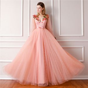 Modern / Fashion Pearl Pink Prom Dresses 2019 A-Line / Princess V-Neck Long Sleeve Pearl Appliques Embroidered Flower Glitter Tulle Bow Sash Floor-Length / Long Ruffle Backless Formal Dresses