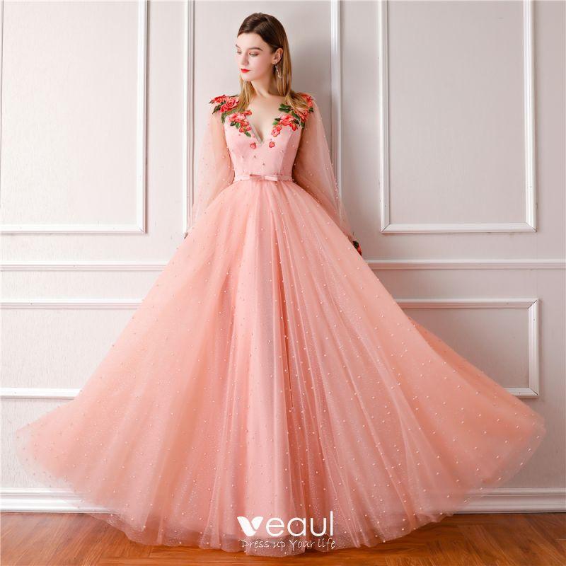 17211245f2ca9 Modern / Fashion Pearl Pink Prom Dresses 2019 A-Line / Princess V ...