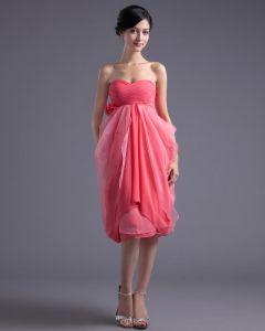 Mode Chiffong Veckad Blomma Alskling Knalang Festklänning
