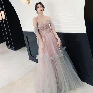 Eleganta Pärla Rosa Aftonklänningar 2019 Prinsessa Av Axeln Korta ärm Appliqués Spets Paljetter Långa Ruffle Halterneck Formella Klänningar