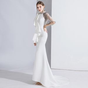 Fashion White Evening Dresses  2020 Trumpet / Mermaid Scoop Neck Beading Short Sleeve Sweep Train Formal Dresses