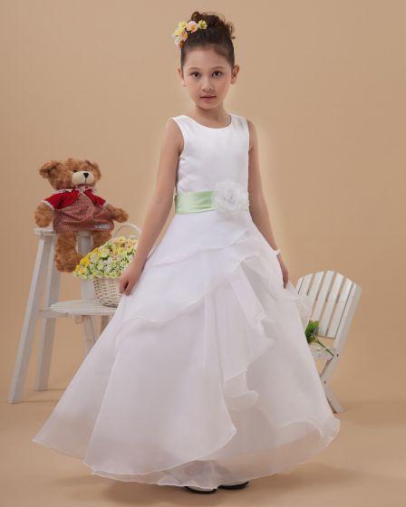 Cute Organza Long Flower Girl Dresses