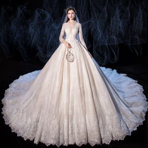 Luxus / Herrlich Champagner Brautkleider / Hochzeitskleider 2020 A Linie V-Ausschnitt Perlenstickerei Pailletten Spitze Blumen 3/4 Ärmel Königliche Schleppe