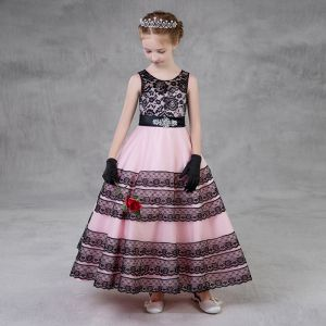 Chic / Beautiful Black Candy Pink Flower Girl Dresses 2018 A-Line / Princess Scoop Neck Sleeveless Rhinestone Sash Ankle Length Ruffle Wedding Party Dresses