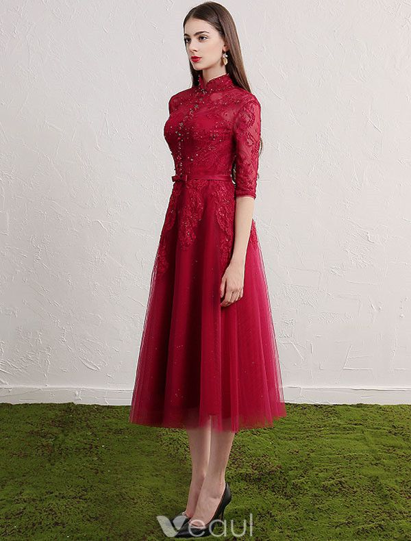 Cheongsam Improved Evening Dresses 2017 High Neck Sequins Applique Lace Burgundy Tulle Occasion Dress