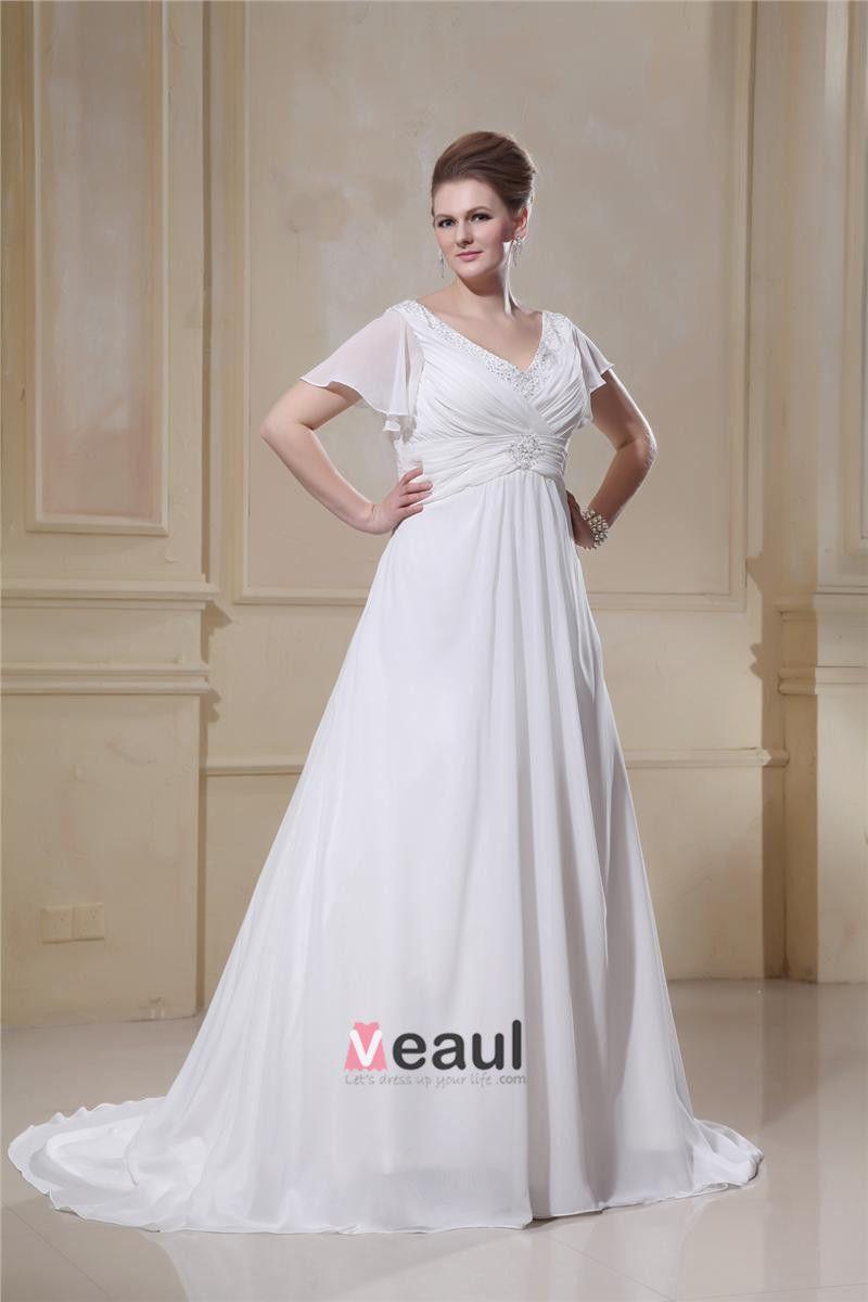 Chiffon Ruffle Beaded V Neck Plus Size Bridal Gown Wedding Dresses