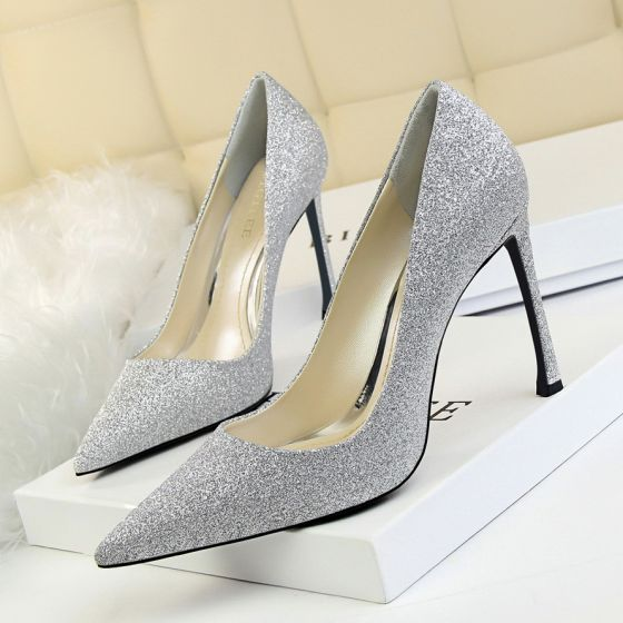 Sparkly Silver Evening Party Sequins Pumps 2020 10 cm Stiletto Heels Pointed Toe Pumps