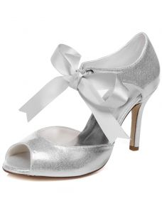 Prickelnde Brautsandelholze Mit Knöchelriemen  9 cm Stilettos Silber Brautschuhe Blickzehe Glitter High Heel