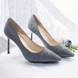 Sparkly Starry Sky Navy Blue Evening Party Pumps 2018 Leather Glitter Sequined 8 cm Stiletto Heels Pointed Toe Pumps