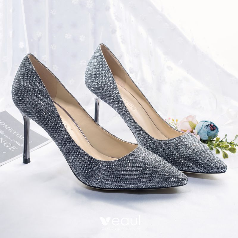best choice low price sale latest fashion Sparkly Starry Sky Navy Blue Evening Party Pumps 2018 Leather Glitter  Sequined 8 cm Stiletto Heels Pointed Toe Pumps