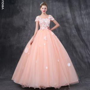 Romantisk Perle Pink Gallakjoler 2019 Prinsesse Scoop Neck Kort Ærme Applikationsbroderi Blomsten Perle Beading Lange Flæse Halterneck Kjoler
