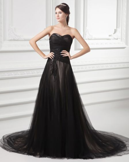 Tulle Beading Ruffle Sweetheart Court Train Pleated Evening Dress