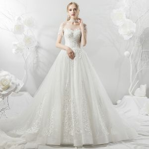 Affordable White See-through Wedding Dresses 2018 A-Line / Princess Square Neckline Short Sleeve Backless Appliques Lace Ruffle Chapel Train