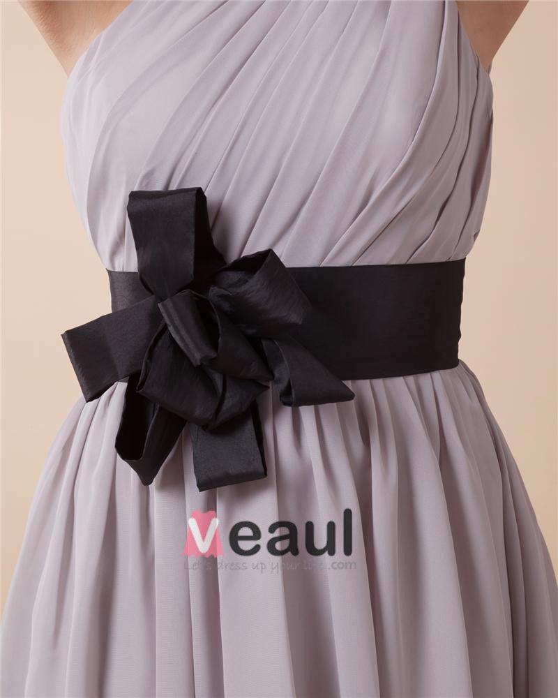 Une Epaule Ruche De Fleur Sans Manches Dos Nu En Mousseline De Soie Longueur Genou Femme Petite Robe De Fete