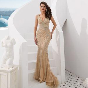 Luxury / Gorgeous Gold Evening Dresses  2019 Trumpet / Mermaid V-Neck Sleeveless Beading Sweep Train Ruffle Backless Formal Dresses