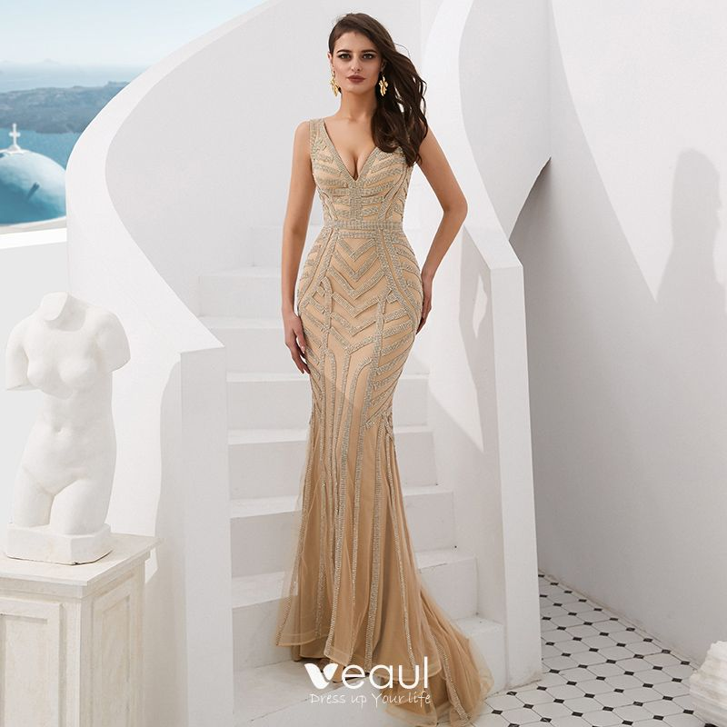 b5b80f602ca7d Luxury / Gorgeous Gold Evening Dresses 2019 Trumpet / Mermaid V ...