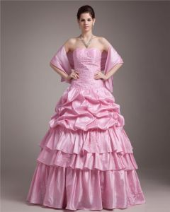Ball Gown Strapless Floor Length Embroidery Paillette Taffeta Women Quinceanera Prom Dress