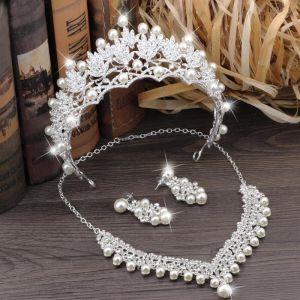 Glitzernden Silber Metall Brautschmuck 2018 Perle Strass Ohrringe Halskette Diadem Brautaccessoires