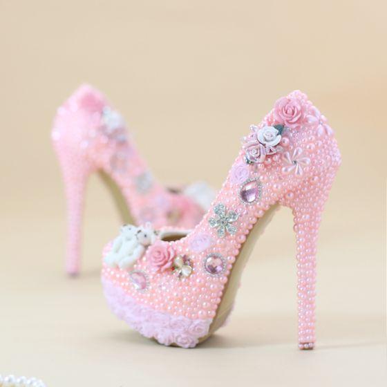 Chic / Belle Rose Bonbon Chaussure De Mariée 2019 Appliques Faux Diamant Cristal Perle 14 cm Talons Aiguilles À Bout Rond Mariage Escarpins