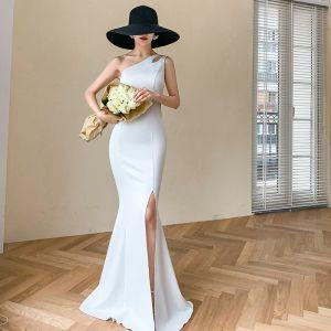 Simple Blanche Robe De Soirée 2020 Trompette / Sirène Une épaule Sans Manches Fendue devant Longue Dos Nu Robe De Ceremonie