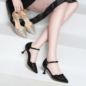 Scintillantes Noire 2018 Perlage Cristal Faux Diamant Soirée Cocktail Chaussures Femmes