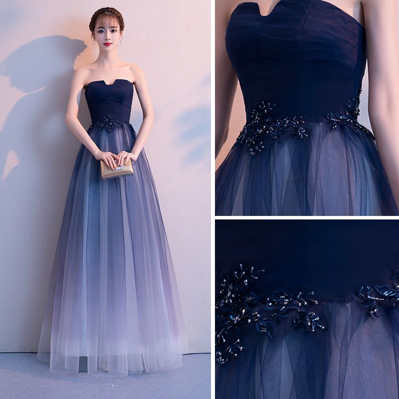 Elegant Navy Blue Gradient-Color White Evening Dresses  2018 A-Line / Princess Strapless Sleeveless Appliques Lace Beading Floor-Length / Long Ruffle Backless Formal Dresses