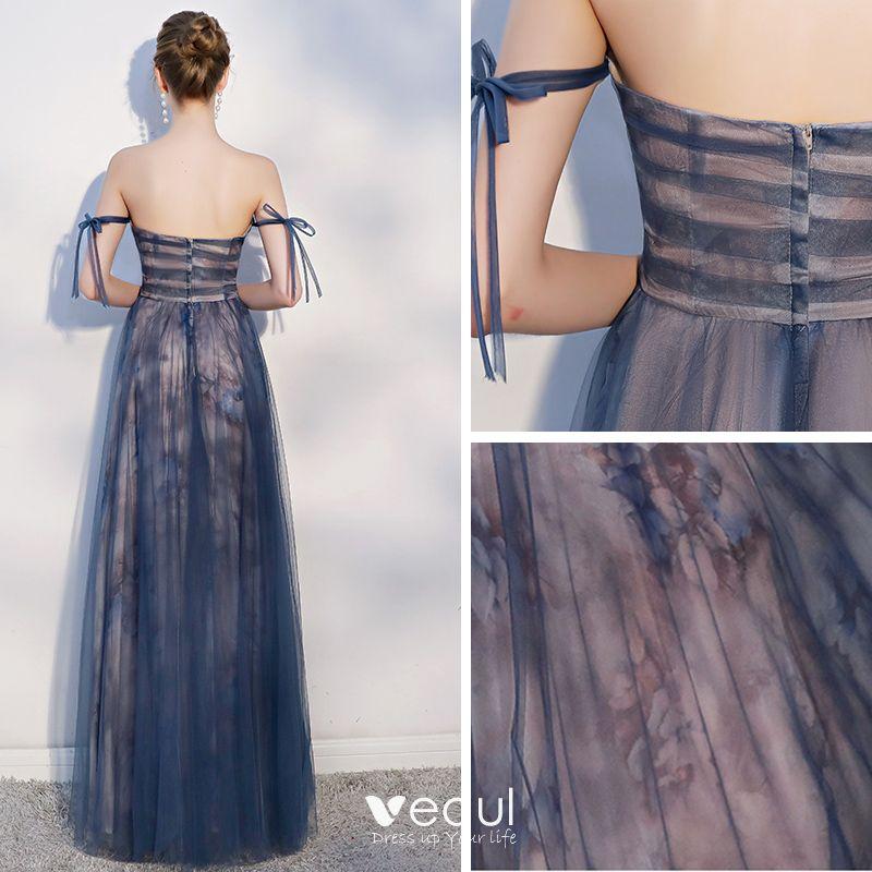 Elegante Marineblau Abendkleider 2018 A Linie Schleife Rückenfreies Bandeau Ärmellos Lange Festliche Kleider