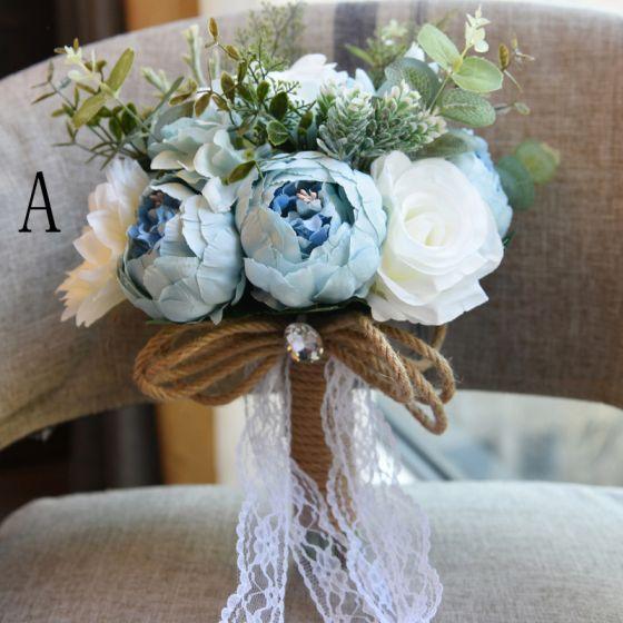 Unique Bleu Ciel Mariage 2019 Perlage Cristal Fleurs Artificielles Bouquet De Mariée