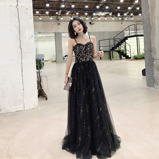 Mode Svarta Guld Aftonklänningar 2019 Prinsessa Spaghettiband Paljetter Ärmlös Halterneck Långa Formella Klänningar