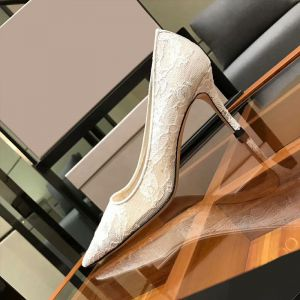 Chic / Beautiful Ivory Lace Wedding Shoes 2020 10 cm Stiletto Heels Pointed Toe Wedding Pumps
