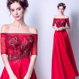 Affordable Red Evening Dresses  2019 A-Line / Princess Off-The-Shoulder 1/2 Sleeves Appliques Lace Pearl Rhinestone Sweep Train Ruffle Backless Formal Dresses