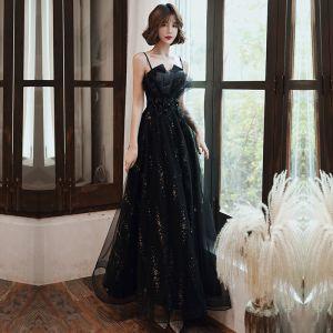 Piękne Czarne Sukienki Wieczorowe Z Szalem 2020 Princessa Spaghetti Pasy Bez Rękawów Aplikacje Kwiat Frezowanie Rhinestone Cekiny Tiulowe Długie Wzburzyć Bez Pleców Sukienki Wizytowe