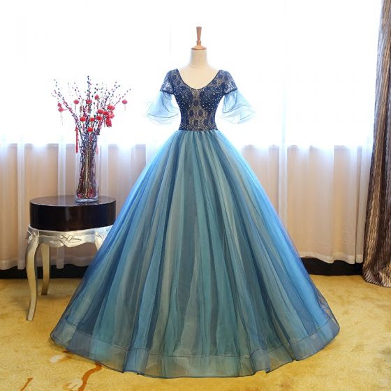 Chic / Beautiful Navy Blue Prom Dresses 2017 Ball Gown V-Neck 1/2 Sleeves Pearl Rhinestone Sequins Floor-Length / Long Ruffle Pierced Backless Formal Dresses