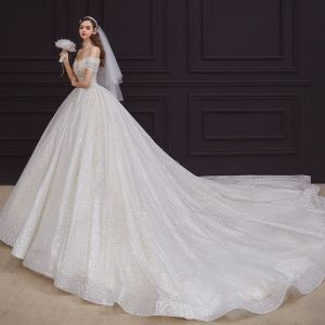 Best Champagne Bridal Wedding Dresses 2020 Ball Gown Off-The-Shoulder Short Sleeve Backless Beading Sequins Glitter Tulle Cathedral Train Ruffle