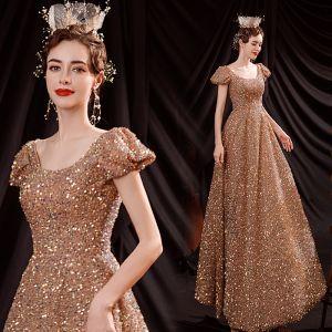 Błyszczące Złote Taniec Sukienki Na Bal 2021 Princessa Wycięciem Bufiasta Kótkie Rękawy Cekiny Długie Wzburzyć Bez Pleców Sukienki Wizytowe
