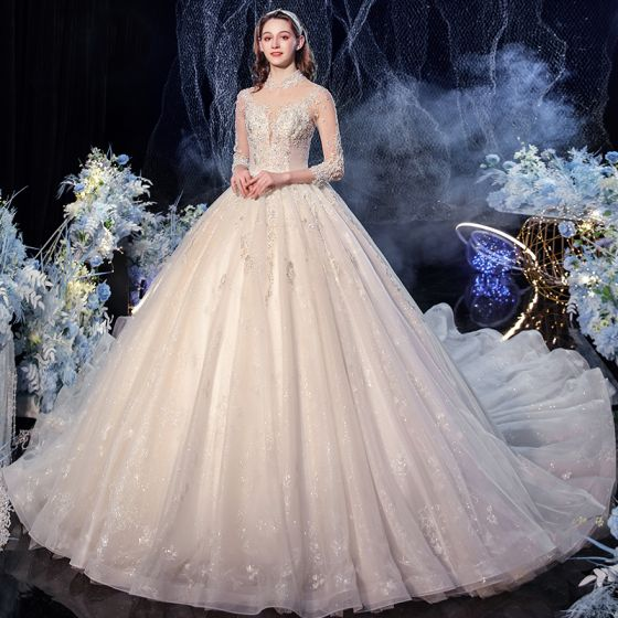 Vintage / Retro Champagne See-through Bridal Wedding Dresses 2020 Ball Gown High Neck 3/4 Sleeve Backless Glitter Tulle Appliques Lace Sequins Beading Cathedral Train Ruffle
